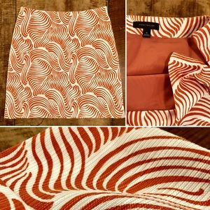 ANN TAYLOR ALine Textured SKIRT Orange White PRINT